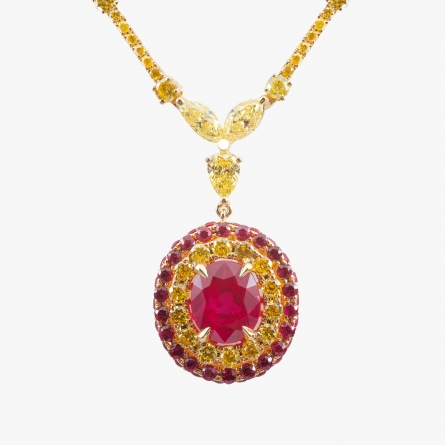 NATURAL BURMESE RUBY AND FANCY YELLOW DIAMOND NECKLACE