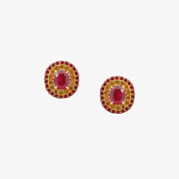 NATURAL BURMESE RUBY AND FANCY YELLOW DIAMOND EARRINGS