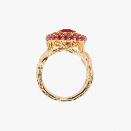 NATURAL BURMESE RUBY AND FANCY YELLOW DIAMOND RING