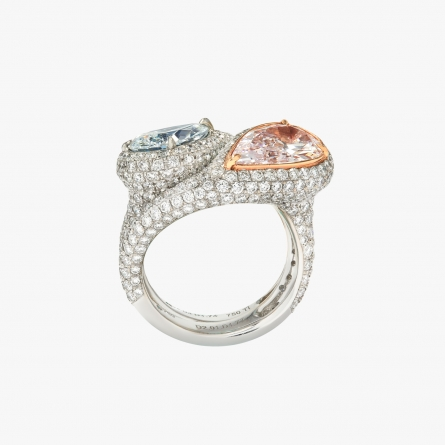 NATURAL FANCY COLORED DIAMOND DOUBLE RING