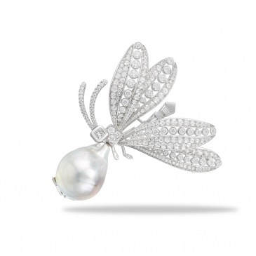 Natural Baroque Pearl & Diamond Brooch
