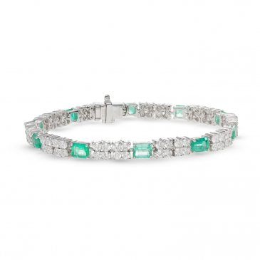 NATURAL EMERALD AND DIAMOND BRACELET