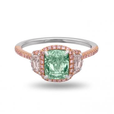 NATURAL FANCY YELLOWISH GREEN DIAMOND RING