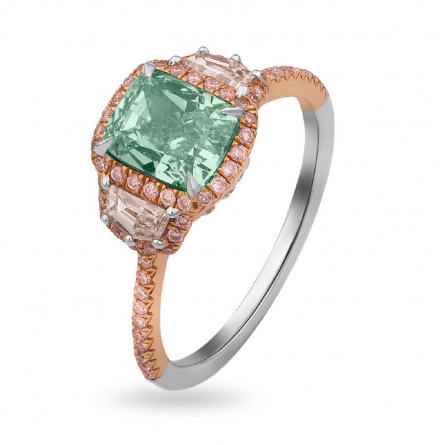NATURAL FANCY YELLOWISH GREEN DIAMOND RING