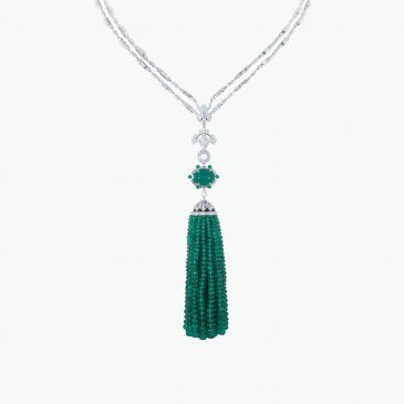 Natural Colombian emerald & diamond necklace