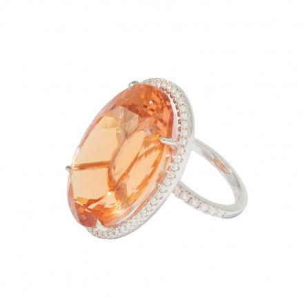 NATURAL MORGANITE & DIAMOND RING