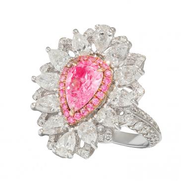NATURAL FANCY PINK DIAMOND RING