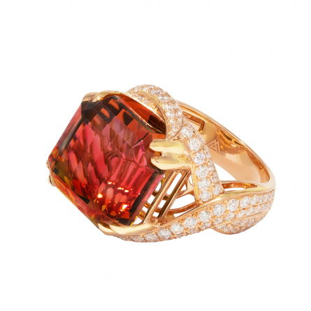 NATURAL BICOLOR TOURMALINE & DIAMOND RING
