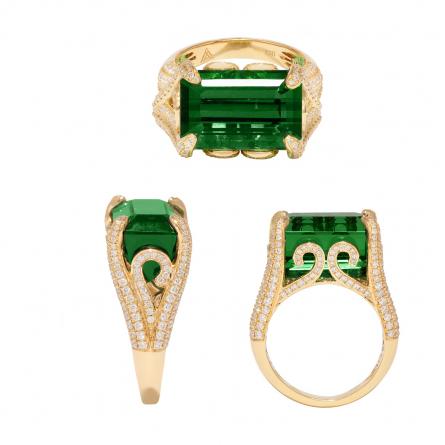 NATURAL TOURMALINE & DIAMOND RING