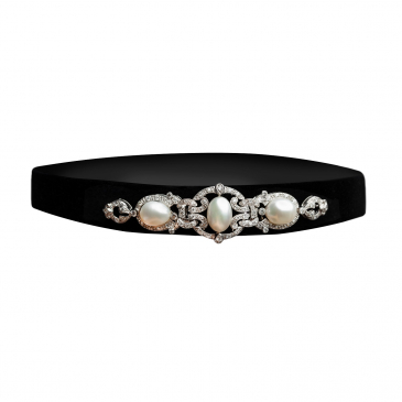 BLACK VELVET CHOCKER SET WITH DIAMONDS
