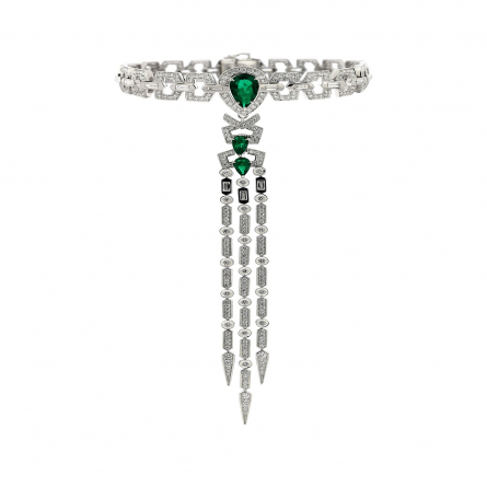 NATURAL COLOMBIAN EMERALD & DIAMOND CHOCKER