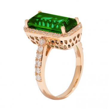NATURAL TOURMALINE & DIAMOND RING
