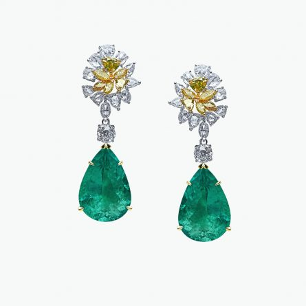 Natural emerald and diamond earrings