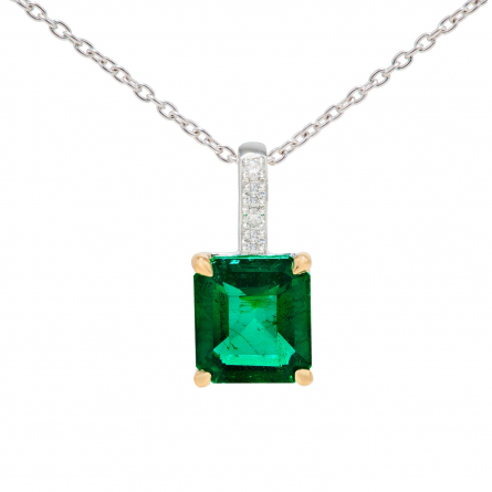 NATURAL EMERALD AND DIAMOND PENDANT