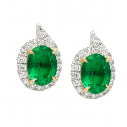 NATURAL EMERALD AND DIAMOND EARSTUDS