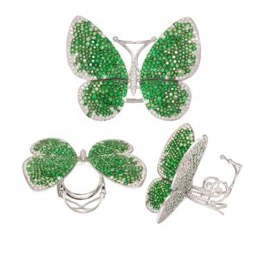 DIAMOND & GEM STONES BUTTERFLY MOTIF RING
