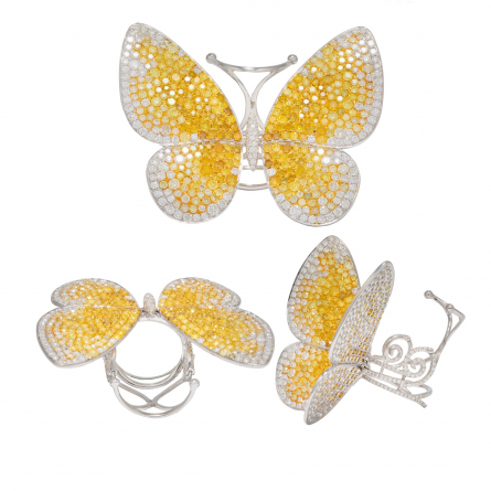 DIAMOND & GEM STONES BUTTERFLY MOTIF RING