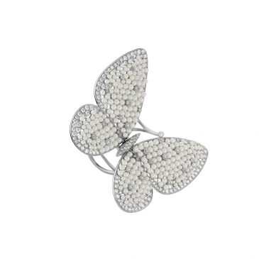 DIAMOND & PEARL BUTTERFLY MOTIF RING