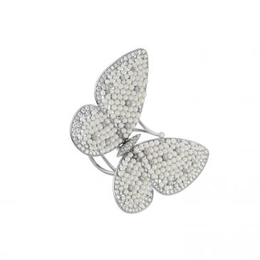 DIAMOND & PEARL BUTTERFLY MOTIF RING