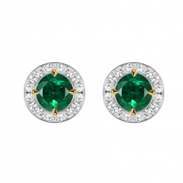 Natural Emerald & Diamond Ear studs
