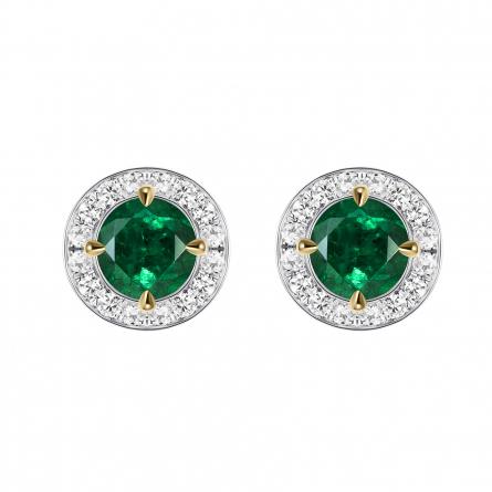 Natural Emerald & Diamond Ear studs