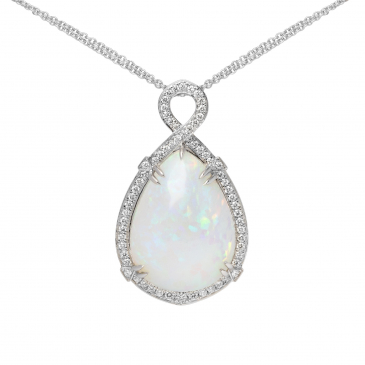 Natural Opal & Diamond Pendant with Chain