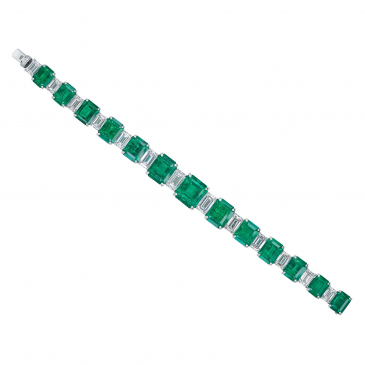 Natural Colombian Emerald & Diamond Bracelet