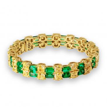 Natural Emerald & Diamond Bangle