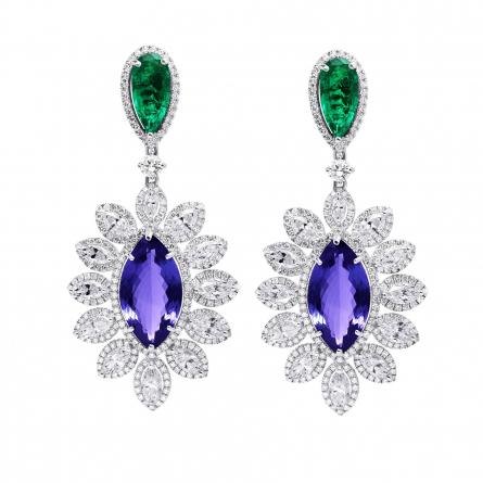 Natural Colombian Emerald & Tanzanite Earring