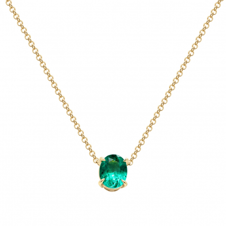 Natural Emerald Oval Cut Pendant with 18 K Gold Chain