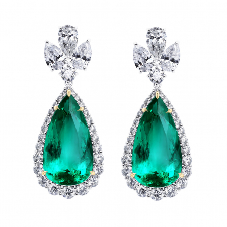 Natural Colombian Emerald & Diamond Earrings