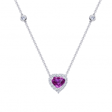 Natural Pink Sapphire & Diamond Pendant with Chain