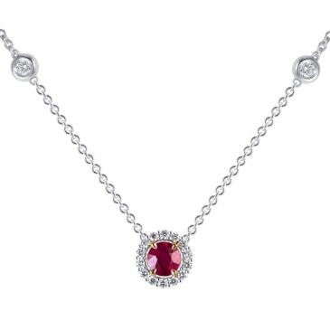 Natural Ruby & Diamond Pendant with Chain