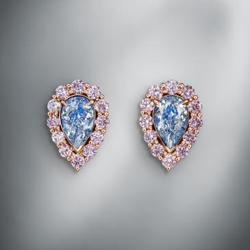 EXCEPTIONAL FANCY BLUE DIAMOND EARSTUDS