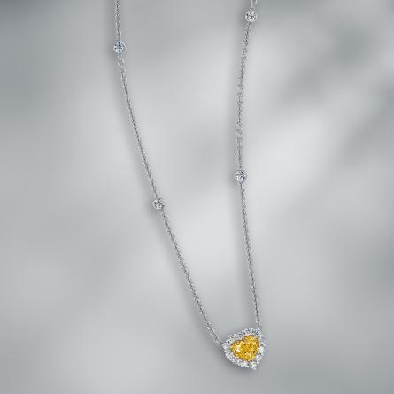 DIAMOND FANCY VIVID YELLOW PENDANT WITH CHAIN