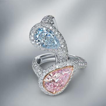 DOUBLE RING SET WITH FANCY BLUE, PINK DIAMONDS