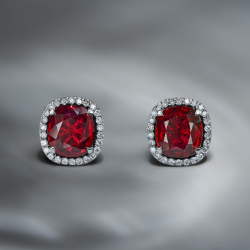 NATURAL RUBY AND DIAMOND EARSTUDS