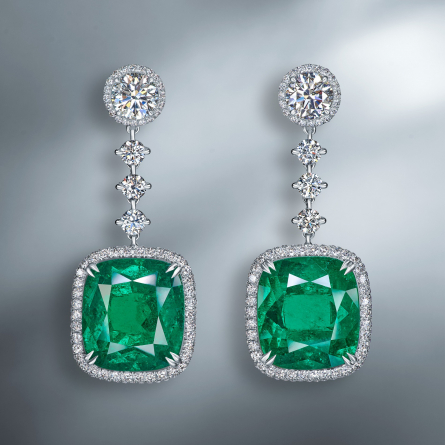 EXCEPTIONAL COLOMBIAN EMERALD & DIAMOND EARRINGS