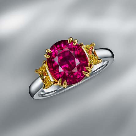 NATURAL MOZAMBIQUE RUBY & DIAMOND RING