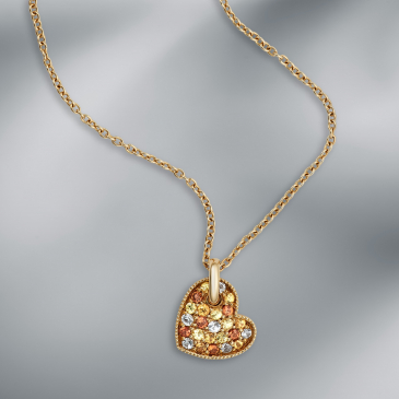 Multicolored Sapphire Pendant with chain