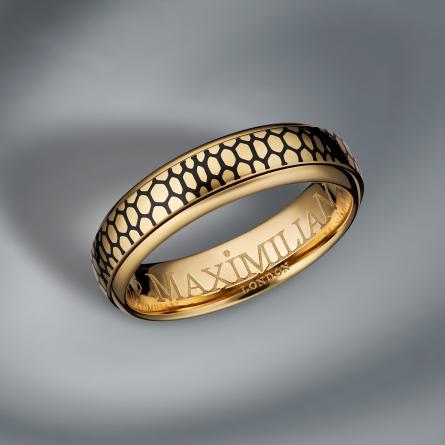 18K GOLD AND ENAMEL RING