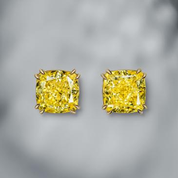 EXCLUSIVE CUSHION MODIFIED BRILLIANT FANCY INTENSE YELLOW DIAMOND STUD EARRINGS