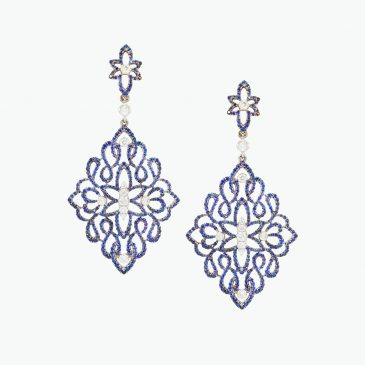 Natural Ceylon blue sapphire & diamond earrings