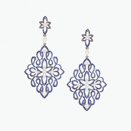 Natural Ceylon blue sapphire & diamond earrings