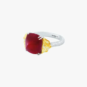 Natural ruby and diamond ring