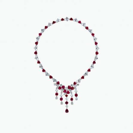 Natural ruby and diamond necklace