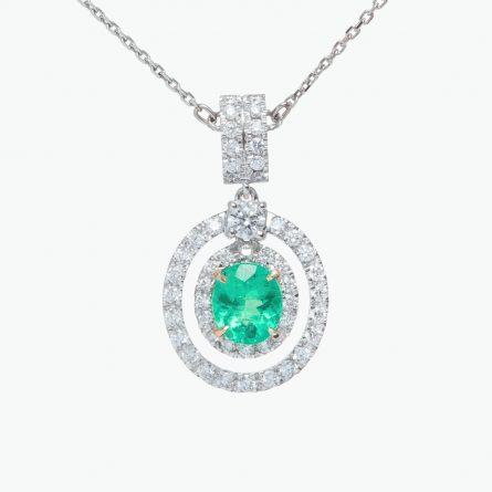 Natural emerald and diamond pendant