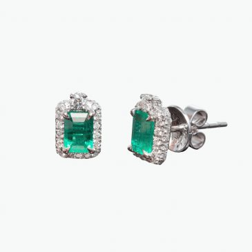 Natural emerald and diamond earstuds