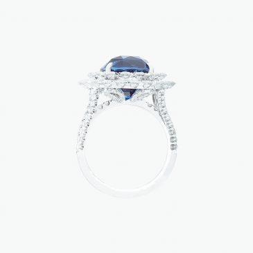 Natural royal blue sapphire & diamond ring