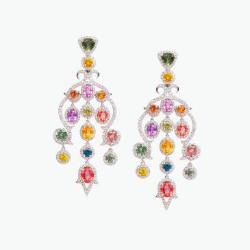 Natural fancy sapphire & diamond earrings